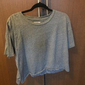 Madewell Basic oversized Crop tee in Grey
